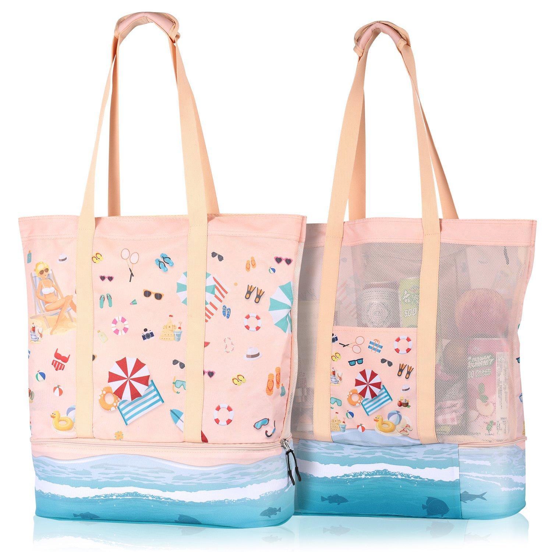 BeachBeing Strandtasche XXL mit Reißverschluss Kühltasche, Strandtasche Damen Rosa, 2-in-1 Strandtasche mit Kühlfach Isoliert, Badetasche Strandtasche Familie