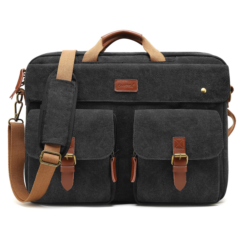 CoolBELL umwandelbar Messenger Bag Rucksack Herren Umhängetasche Laptop Tasche Business Bag Aktentasche Multifunktions Reise Rucksack Notebook Schultertasche Passend für 17 Zoll Laptop(Canvas Schwarz)