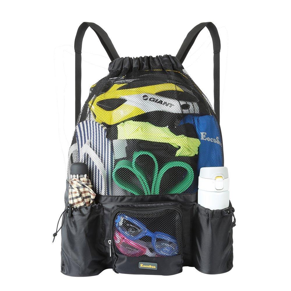 EocuSun Drawstring Bag, Netzbeutel Mesh Beach Bag Swimming Beach Bag, Große Kapazität Gymsack Bag Sackpack Strandtasche für Erwachsene Männer Frauen