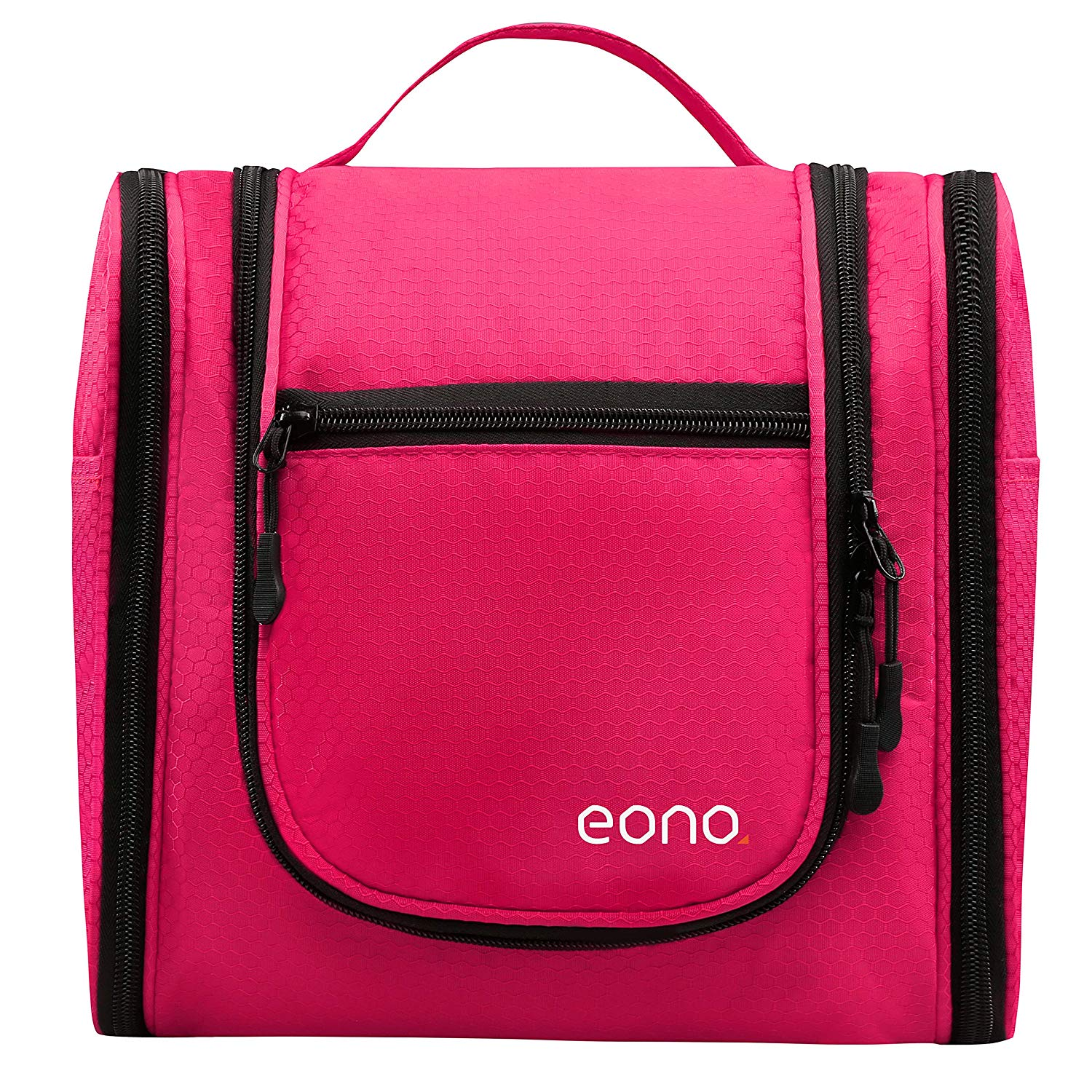 Eono Essentials Large Men & Women Toiletry Bag for Makeup, Cosmetic, Shaving, Travel Accessories, Personal Items - Hanging Toiletries Kit Makeup Organizer Fushcia