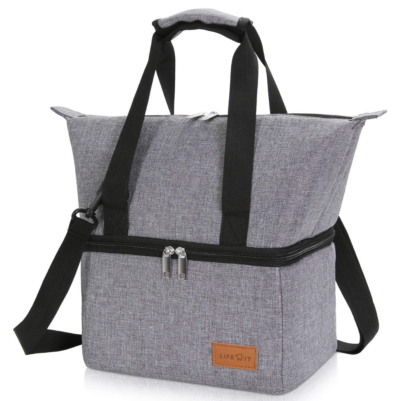 Lifewit 12L Lunchtasche Kühltasche mit Zwei Fächern für die Aufbewahrung von Kühlbox Lunchbox, Multifunktionen Tragetasche Strandtasche mit verstellbarem Schultergurt, Grau