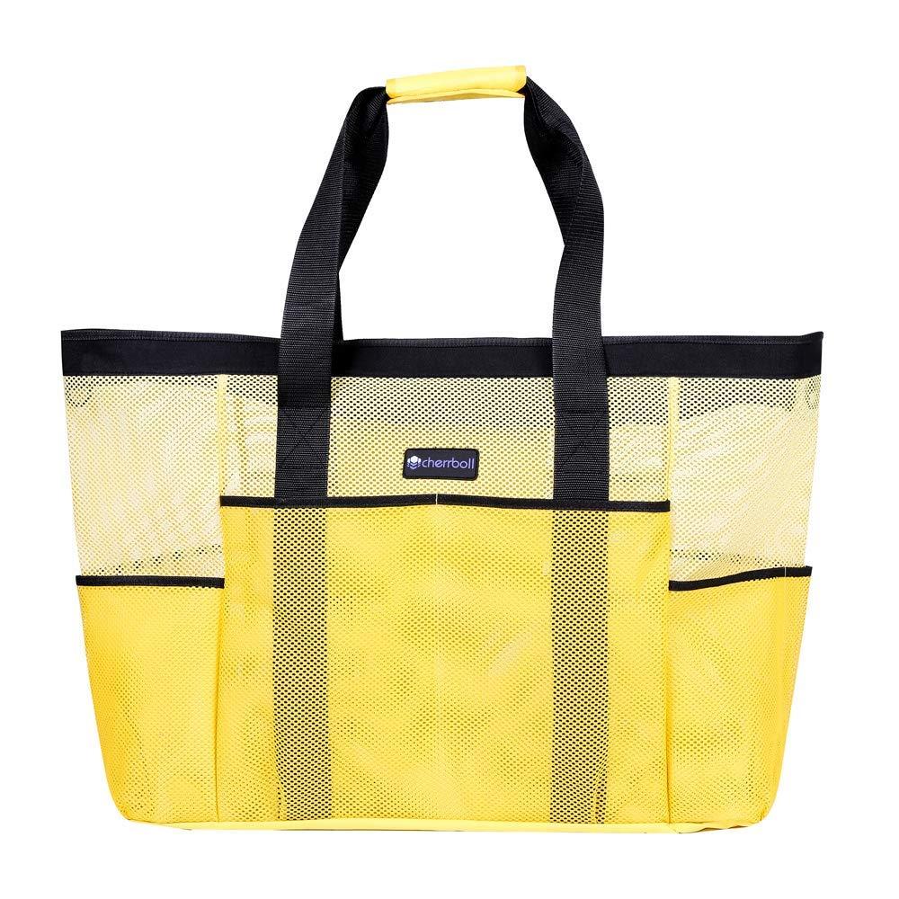 OOSAKU Mesh Strandtaschen Tote Shopping Travel Picknick Lebensmittelgeschäft Lagerung Handtaschen mit übergroßen Taschen Reißverschlüsse (xxl, Gelb)