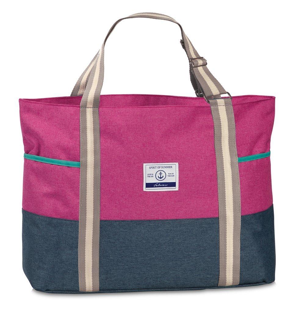 XL Badetasche Sauna Freizeit Tasche 2-farbig Melange Stoff Umhängetasche mit Reißverschluss Schulter-/ Tragetasche Pink Jeans-Blau