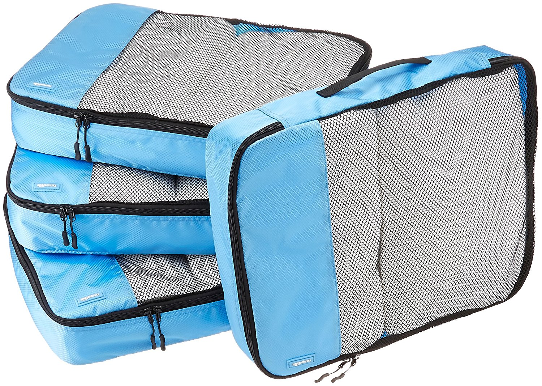 AmazonBasics Große Kleidertaschen, 4 Stück, Himmelblau