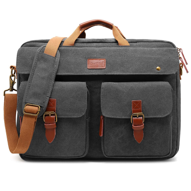CoolBell umwandelbar Messenger Bag Rucksack Herren Umhängetasche Laptop Tasche Bag Business Aktentasche Multifunktions Reise Rucksack Notebook Schultertasche Passend für 17 Zoll Laptop(Canvas Grau)