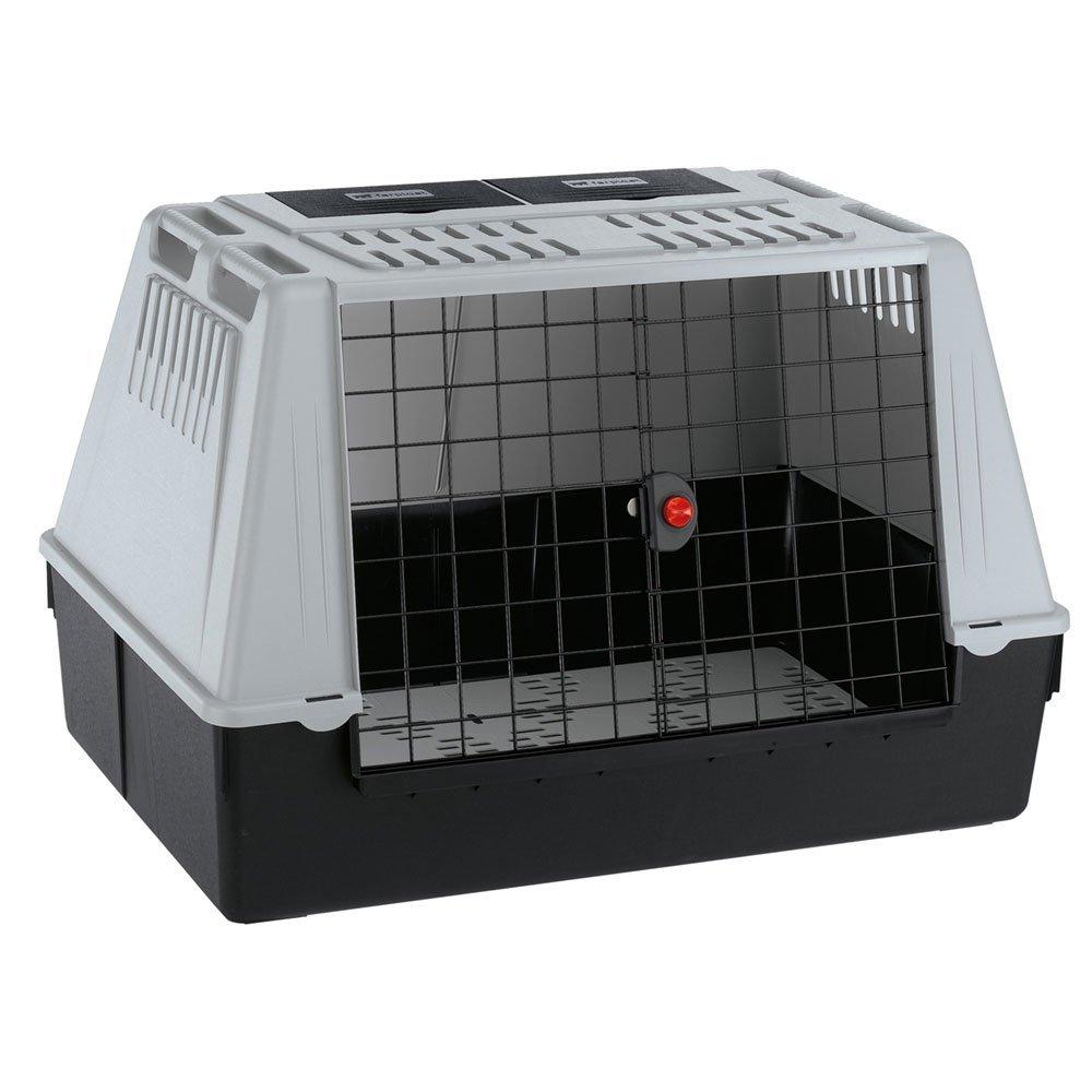 Ferplast Autotransportbox Atlas Car 100 für Hunde und Katzen / Tiertransportbox aus Kunststoff mit praktischer Zwei-Wege-Schiebetür und Zubehörfach