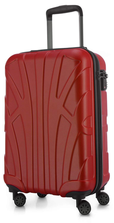 SUITLINE - Handgepäck Hartschalen-Koffer Koffer Trolley Rollkoffer Reisekoffer, TSA, 55 cm, 34 Liter, Rot