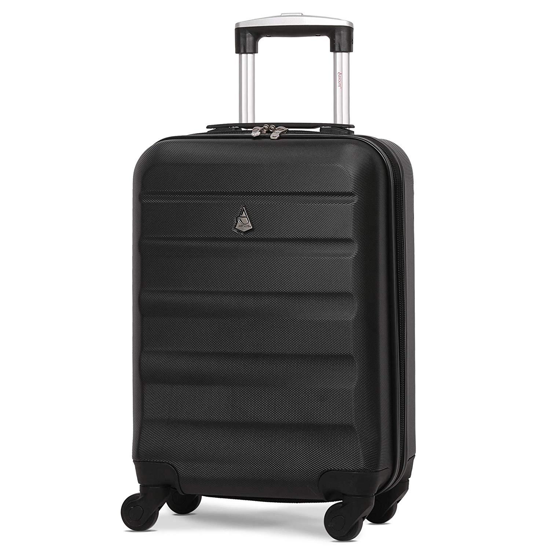 Aerolite Leichtgewicht ABS Hartschale 4 Rollen Handgepäck Trolley Koffer Bordgepäck Kabinentrolley Reisekoffer Gepäck, easyJet, Lufthansa, Jet2 und Vieles Mehr,Schwarz