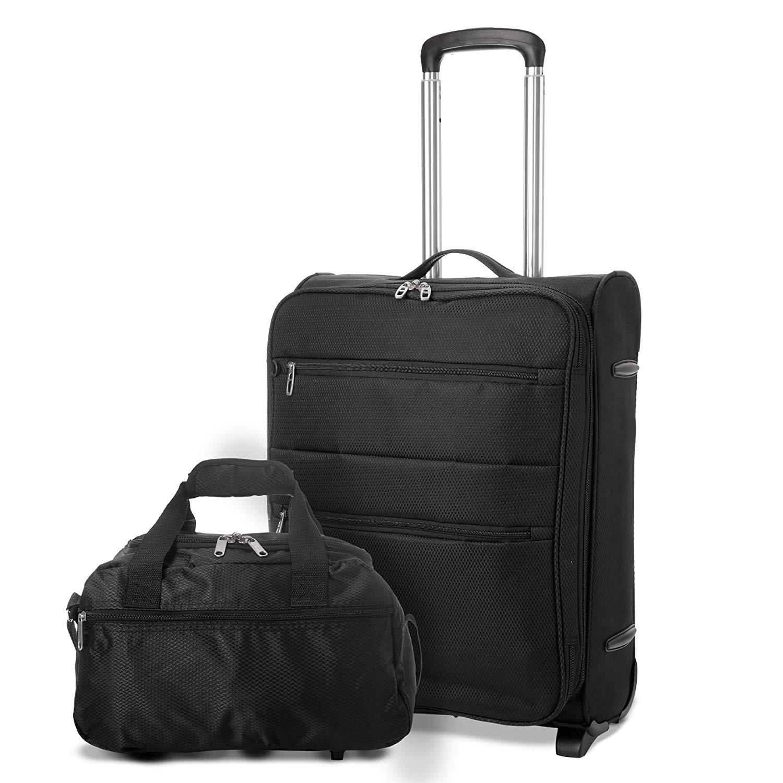 EONO Erweiterbar 55x40x20cm auf 55x40x23cm Leichtes Handgepäck Handgepäck Koffer mit 4 Rädern, maximale Größe für Ryanair, Eurowings, Lufthansa, Norwegian, Vueling & Turkish Airlines + 2. Tasche