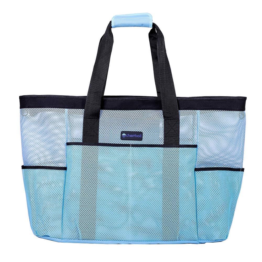 OOSAKU Mesh Strandtaschen Tote Shopping Travel Picknick Lebensmittelgeschäft Lagerung Handtaschen mit übergroßen Taschen Reißverschlüsse (xxl, Blau)