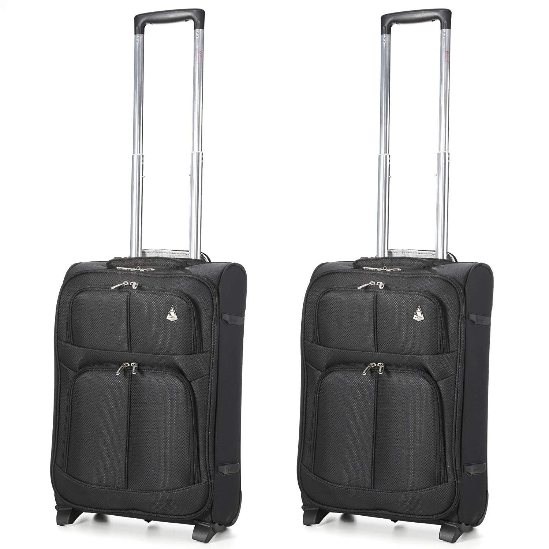 Aerolite Leichtgewicht 2 Rollen Handgepäck Trolley Koffer Bordgepäck Kabinentrolley Reisekoffer Gepäck, Genehmigt für Ryanair easyJet Lufthansa und mehr, 2 teiliges Kofferset Gepäck-Set, Schwarz