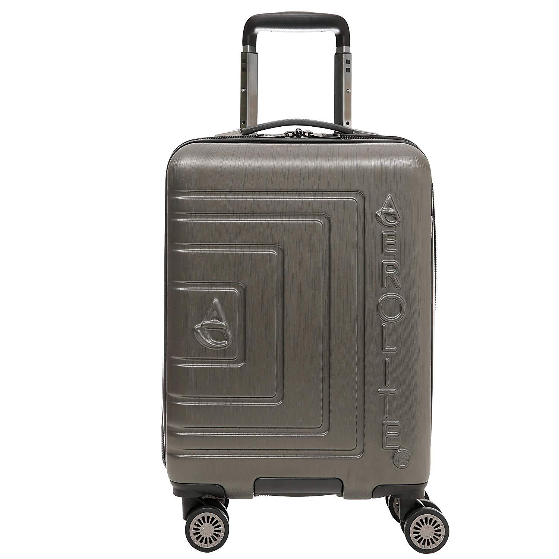 Aerolite Leichtgewicht ABS Hartschale 8 Rollen Handgepäck Trolley Koffer Bordgepäck Kabinentrolley Reisekoffer Gepäck, Genehmigt für Ryanair, easyJet, Lufthansa, und viele mehr, anthrazit