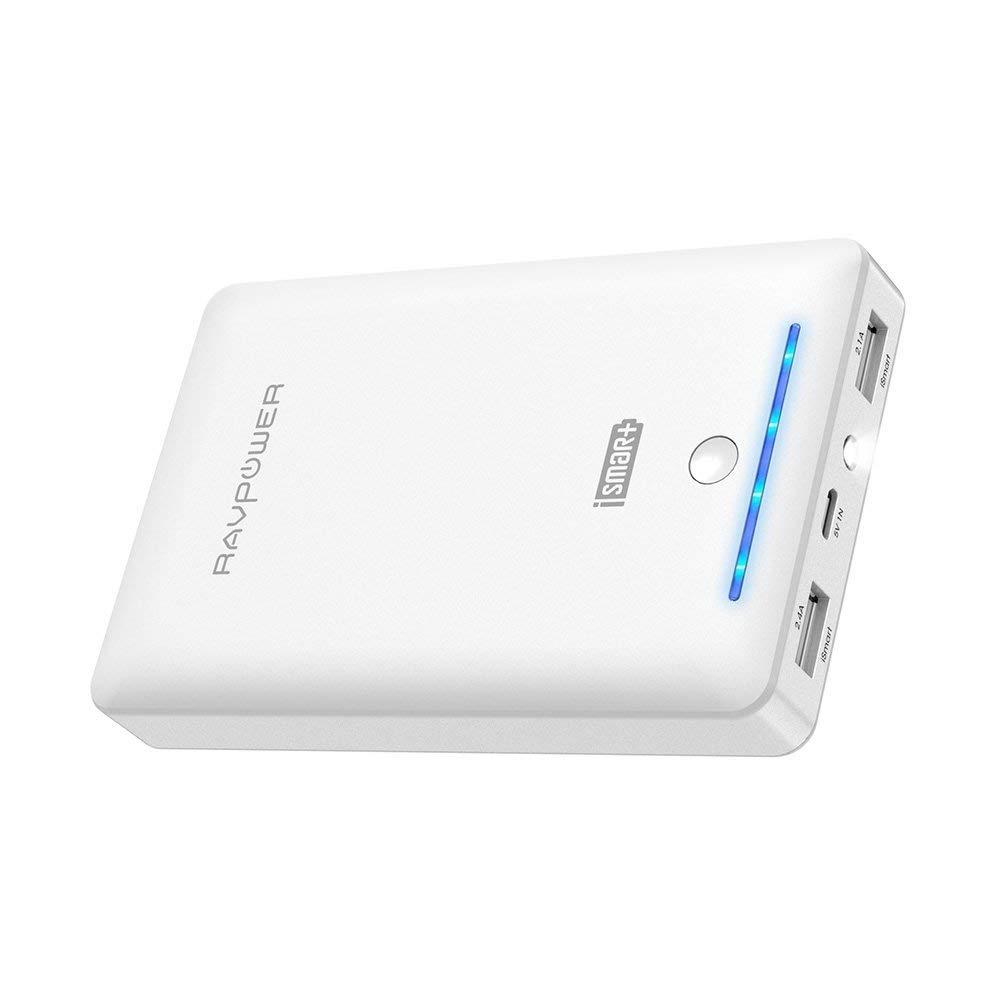 RAVPower 16750mAh Powerbank iSmart Externer Akku 4,5A Ausgang USB Ladegerät Kompatibel mit iPhone 8, iPhone XS Max/XR/X, Galaxy 8, Note 8, iPad und weitere Smartphones und Tablet, Weiß