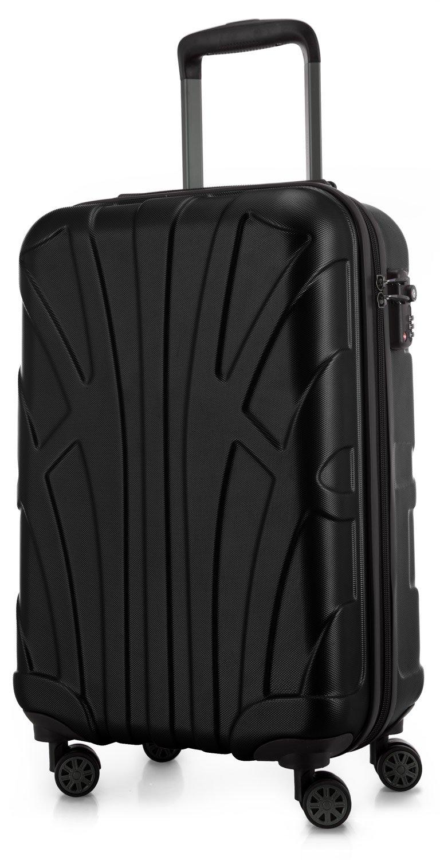 Suitline Handgepäck Hartschalen-Koffer Koffer Trolley Rollkoffer Reisekoffer, TSA, 55 cm, ca. 33 Liter, 100% ABS Matt, Schwarz
