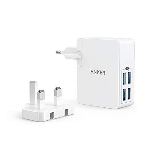 Anker PowerPort Lite 27W 2.4A 4 Port USB Ladegerät mit Austauschbarem UK und EU Reiseadapter und Power IQ für iPhone 8/8 Plus / 7 / 6s, iPad Air/Mini, Samsung Galaxy/Note, LG, HTC usw. (Weiß)
